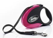 Flexi Рулетка для собак COLLECTION M 5м/ 25кг  (лента) Цвет: черно-розовая