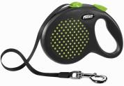 Flexi Рулетка для собак DESIGN L 5м/ 50кг (лента) Цвет: зеленый горошек