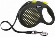 Flexi Рулетка для собак DESIGN M 5м/25кг (лента) Цвет: желтый горошек
