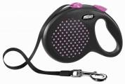 Flexi Рулетка для собак DESIGN M 5м/25кг  (лента) Цвет: розовый горошек