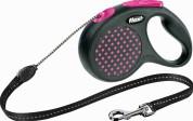 Flexi Рулетка для собак DESIGN M 5м/20кг (трос) Цвет: розовый горошек