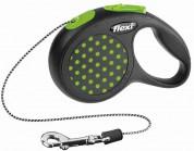 Flexi Рулетка для собак DESIGN XS 3м/8кг (трос) Цвет: зеленый горошек