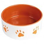 Trixie миска для собаки (керамика) 0,3 л Ø12 см, бел./оранж. с лапами