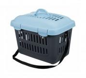 Переноска для кошек и маленьких собак Midi-Capri (размер XS: 44х33х32 см) темно-серый / голубой