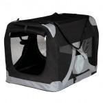 переноска для собак (размер S-M: 70х50х50 см) черный/серый