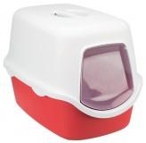 "Trixie туалет-домик для кошек ""Vico"" 40х40х56 см, Цвет:белый/красный"