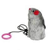 Trixie крыса (плюш) на шнуре с пищалкой 9 см