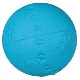 Мяч с пищалкой (резина) 9 см, синий+следы лап