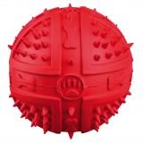 Мяч с пищалкой (резина) 9 см, зелён+шипы
