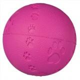 Мяч с пищалкой (резина) 7 см, красн+следы лап