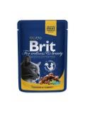 Brit Premium Влажный корм Cat pouch курица и индейка для кошек (100 g)