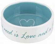 """Trixie Миска для собак """"Pet's Home"""", 0.8 л/ 16 см,керамика, Цвет:кремовая/голубая"""