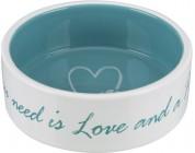 """Trixie Миска для собак """"Pet's Home"""", 0.3 л/ 12 см,керамика, кремовая/голубая"""