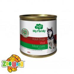 MY FAMILY Мясной паштет с Телятиной для собак 250г