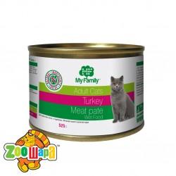 MY FAMILY Мясной паштет с Индейкой для котов 525г