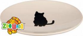 Trixie Миска керам. д/кот. плоская белая с кошкой 18*15см