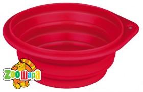 Trixie миска для собак дорожная с крышкой, 0,5 л Ø 14 см, красная