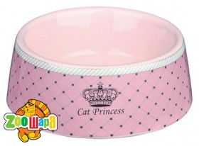 "Trixie Миска ""Cat Princess"" керамич. розовая 0,18л/12см"