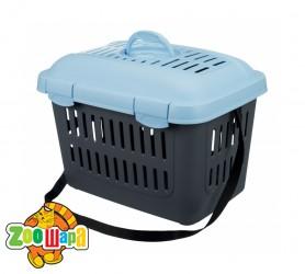 Trixie Переноска для кошек и маленьких собак Midi-Capri (размер XS: 44х33х32 см) темно-серый / голубой