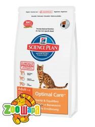 Hill's Сухой корм для взрослых кошек Science Plan Adult Optimal Care для оптимальной физичекой формы (15 кг)