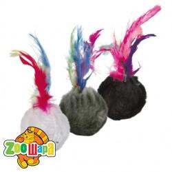 Trixie мяч (плюш) с пером 4 см (100 шт)