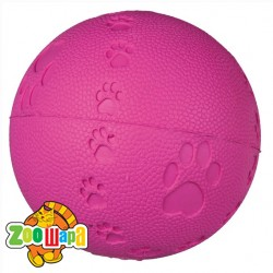 Trixie Мяч с пищалкой (резина) 7 см, красн+следы лап