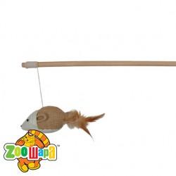 Trixie Удочка для кошек с мышкой и перьями (50 см) игрушка
