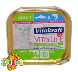 Vitakraft VitaLife для кошек с лососем и треской,  100 гр
