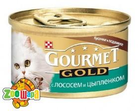 Gourmet Gold З лососем і куркою. Шмат у підл. 85 г