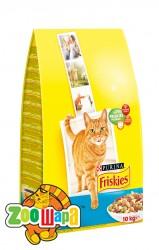 Friskies Сухой корм для взрослых кошек с лососем и овощами 10 кг