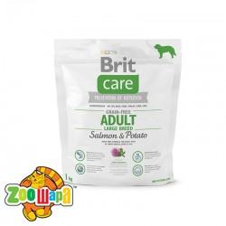 Brit Care Сухой корм для взрослых собак весом от 25 кг Adult Large Breed Salmon & Potato GF (1 кг) с лососем и картофелем