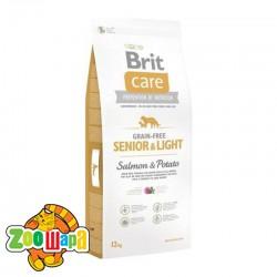 Brit Care GF Senior&Light Salmon&Potato (12кг) сухой корм с лососем и картофелем для стареющих собак и собак с избыточным весом всех пород