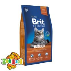 Brit Premium Cat Indoor (8 кг) сухой корм с курицей для домашних взрослых кошек всех пород