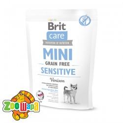 Brit Care GF Mini Sensitive (400 г) сухой корм с  олениной для взрослых собак миниатюрных пород с чувствительным пищеварением