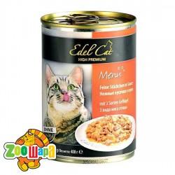 Edel Cat Cat влажный корм для кошек ТРИ ВИДА МЯСА ПТИЦЫ (400 г) консерва
