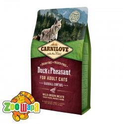Carnilove Cухой корм для кошек для выведения комков шерсти Duck & Pheasant Hairball Control (2 кг)  с уткой и фазаном