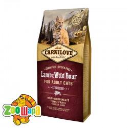 Carnilove Сухой корм для взрослых стерилизованных кошек Lamb & Wild Boar - Sterilised (6 кг) с ягненком и мясом дикого кабана