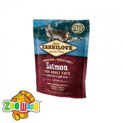 Carnilove Сухой корм для взрослых кошек с чувствительным пищеварением и для длинношерстных Salmon Sensitive & LongHair (400 г) с лососем