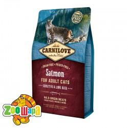 Carnilove Сухой корм для взрослых кошек с чувствительным пищеварением и для длинношерстных Salmon Sensitive & LongHair (2 кг) с лососем