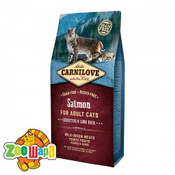 Carnilove Сухой корм для взрослых кошек с чувствительным пищеварением и для длинношерстных Salmon Sensitive & LongHair (6 кг) с лососем