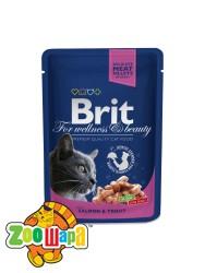 Brit Premium Влажный корм Cat pouch лосось и форель для кошек (100 g)
