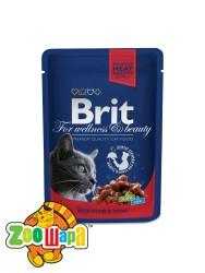 Brit Premium Влажный корм Cat pouch тушеная говядина и горошек для кошек (100 g)