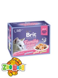Brit Premium Влажный корм Cat pouch Семейная тарелка в желе для кошек 1,02 кг (12шт х 85g)