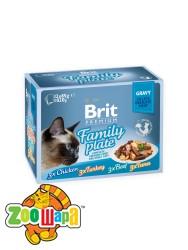 Brit Premium Влажный корм Cat pouch Семейная тарелка в соусе 4 вкуса для кошек 1,02 кг (12шт х 85g)