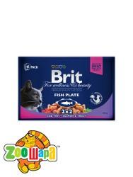 Brit Premium Влажный корм Cat pouch Рыбная тарелка  для кошек 400 г (4шт х 100g)
