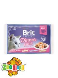 Brit Premium Влажный корм Cat pouch Обеденная тарелка в желе для кошек 340 г (4шт х 85g)