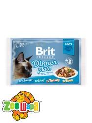 Brit Premium Влажный корм Cat pouch Обеденная тарелка в соусе для кошек 340 г (4шт х 85g)