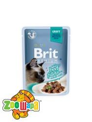 Brit Premium Влажный корм Cat pouch Филе говядины в соусе для кошек (85 g)