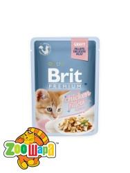 Brit Premium Влажный корм Cat pouch Филе курицы в соусе ДЛЯ КОТЯТ  (85 g)