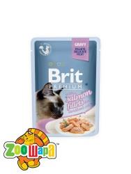 Brit Premium Влажный корм Cat pouch Филе лосося в соусе д/стерилизованных кошек (85 g)